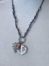saq necklace nautical theme sailboat anchor seahorse