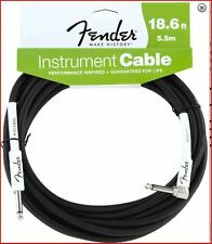 """Fender Performance Instrument / Guitar Cable Lead 18.6Ft /5.5M - Angle 1/4"""" Jack"""