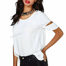 Chiffon Short Sleeve Regular Fitted Tops & Shirts for Women