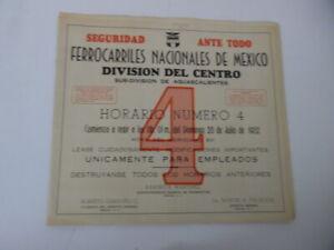 1952 Ferrocarril Nacionales Mexico Mexican Railway Employee Timetable Del Centro