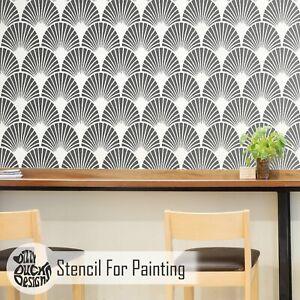 ART DECO FAN 1920s Fan Stencil - Furniture Wall Floor Stencil for Painting