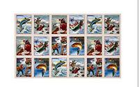 "Fishing Fish Sports Afield Tan Crm Cotton Fabric Elizabeths Studio 24""X44"" Panel"