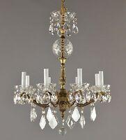 Italian Brass & Crystal Chandelier c1950 Vintage Antique Gold Glass Ceiling