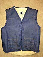 Vintage Roebucks sears Sherpa lined Denim Vest Mens Size Large (42-44) Tall