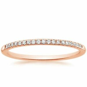 0.55ct Round Cut Stackable Bridal Wedding Petite Anniversary Band 14k Rose Gold
