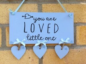 Baby Sign Plaque Personalised Handmade Pink Blue Boy Girl Quote Gift