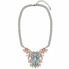 Silver Flower Pendant Necklace Chunky Chain Pink Blue Statement Vintage Crystal