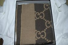 NEW GUCCI GG MONOGRAM CASHMERE WOOL THROW BLANKET FRINGE BROWN & TAN NEW IN BOX