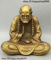 Chinese Buddhism Bronze Copper Seat Arhat Damo Bodhidharma Dharma Buddha Statue