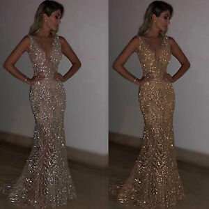 Womens Sparkly Bling V Neck Long Maxi Dress Ball Gown Prom Evening Party Sequins