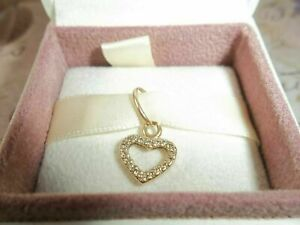Genuine Pandora 14ct Gold & Diamond Be My Valentine Heart Pendant Charm 350136D