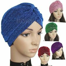 Glitter Shimmer TURBAN Head Band Hat Cap Hijab Head Wrap Hair Loss Chemo Bandana