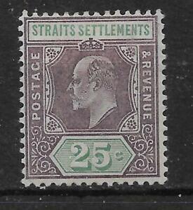 MALAYA STRAITS SETTLEMENTS SG116 1902 25c DULL PURPLE & GREEN MTD MINT