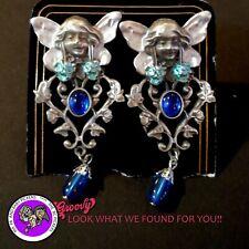 """""""JJ"""" Jonette Jewelry Silver Pewter'Fairy Flower Stone Blue ' Earrings clip on"""