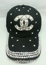 Bling Rhinestone Studded Ballcap Womans Cap Baseball Hat Tennis Black New