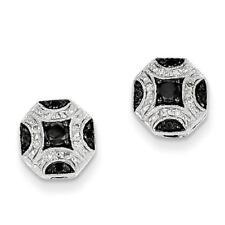14k White Gold Black & White Diamond Cushion Cut Stud Earrings 0.25ct G/SI1 New