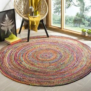 Rug 100% Natural Jute & Cotton Reversible Round Area Carpet home decor rag Rug