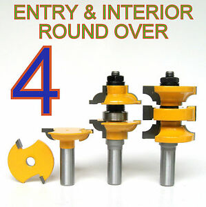 """4 pc 1/2"""" SH Round Over Entry & Interior Door Matched R&S Router Bit Set S"""