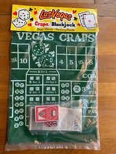 "VTG Las Vegas Giant Size Craps/ Blackjack Felt 18x36"" With Card Deck And Dice"