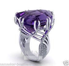 Fancy Cut Big Amethyst 925 sterling silver wedding engagement statement Ring