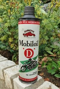 Very Rare Gargoyle Mobiloil Oil can with Motorcycle Graphic
