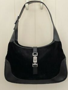 VINTAGE GUCCI JACKIE BLACK SUEDE AND LEATHER PURSE WITH PEWTER GREY HARDWARE