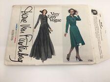 Vogue pattern 1730 sz 10 Diane Von Furstenberg dress 1970s Uncut
