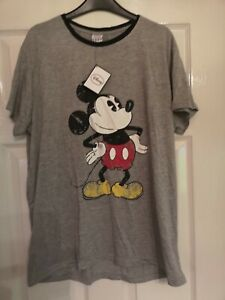 Ladies Disney Mickey Mouse T-shirt Grey UK Size 16 Great Condition