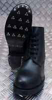 Genuine British ARMY Hobnail Ammo Marching Boots Plain Leather Black - NEW