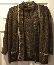 Womens 2 PC Brown Metallic Gold Sweater and Shell Top Size Medium M
