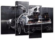 Delorean back to the future/set of 4 new canvas split prints