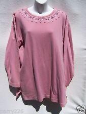 Van Heusen for Her Women's Mauve Pink Embroidered Scoop Neck LS Top Large