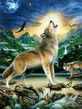 3D LENTICULAR Art Picture Howling WOLF FARFALLE Eagle 39x29cm NUOVO