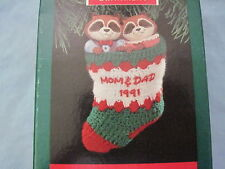 1991 Hallmark MOM AND DAD Ornament CUTE RACCOONS IN STOCKING