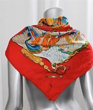 HERMES Womens Red Multicolor Silk Twill Peacock+Fan Motif Pattern Scarf