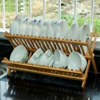 Bamboo Wood Dish Drainer Dinner Plates Rack Stand Cutlery Utensil Holder Dryer