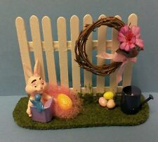 Dollhouse  handcrafted Easter garden fence flower wreath bunny eggs water can