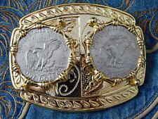 NUOVA Grande Doppia USA DOLLARO AQUILA Cintura Fibbia Oro Metallo Cowboy Western Goth