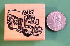 School Bus, Cute, Rubber Stamp, wood mounted
