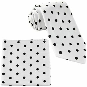 New Men's Polyester Woven Necktie & Hankie Polka Black Dots white tie formal