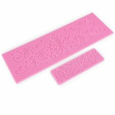 2x Cake decorating silicone icing fondant lace mould Mold euro pattern pastry
