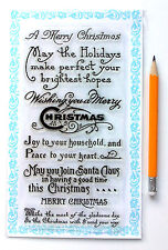 """Clear Stamps Lot (4""""x7"""" Wish You Merry Christmas Saying Vintage FLONZ 835 Rubber"""