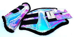 AMIDALE Holographic Brushing Boots Synthetic Leather with Artificial Fur Inside