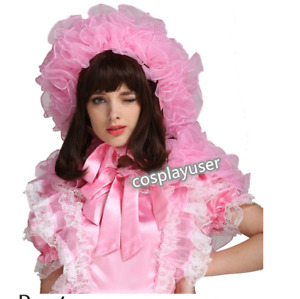 SISSY MAID * ADULT BABY * Prissy Organza Puffy Pink Bonnet With Cape