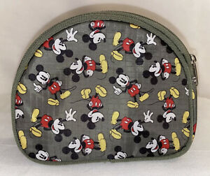 Disney Mickey Mouse Make Up Pouch Bag Olive Green Zipper -adorable