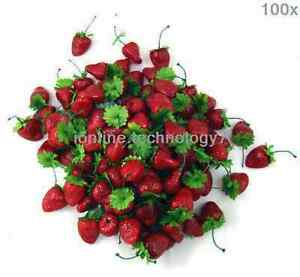 100 x fake strawberry artificial fruit faux food house kitchen party decor Prop