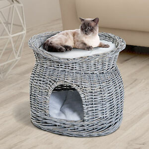 2-Tier Elevated Pet Cushion Bed Basket Willow Cat Tree House Condo Kennel Grey