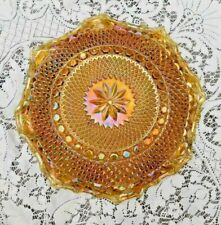 Vintage Marigold Carnival Glass Raised Diamond Quilt Fluted Edges Serving Bowl