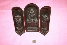 Vintage Travel Altar Shrine Buddha Folding 3 Risen Panels Signed