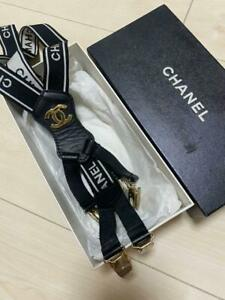 CHANEL Logos Suspender Canvas Leather BLACK France Authentic